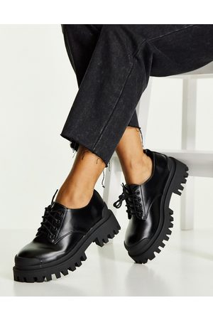 ASOS DESIGN Dame Loafers - Mayan chunky lace up flat shoes in black