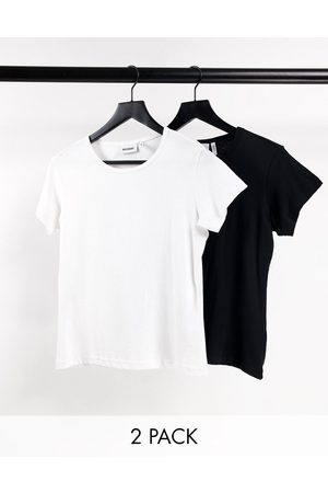 Weekday Dame Kortermede - Fave organic cotton 2 pack fitted t-shirt in black and white-Multi