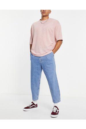 Topman Pleat front taper jeans in mid wash-Blue