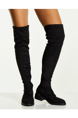 Truffle Collection Mid heel stretch over the knee boots in black