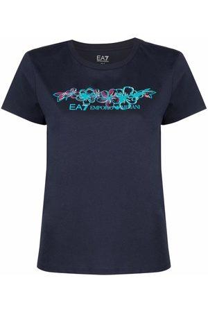 Ea7 Emporio Armani Floral-print cotton T-shirt
