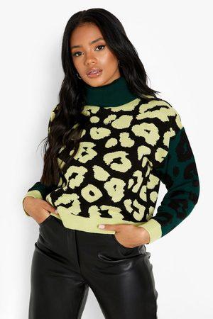 Boohoo Leopard Print Colour Block Crop Jumper