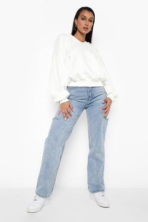 Boohoo Recycled Balloon Sleeve Notch Front Hoodie