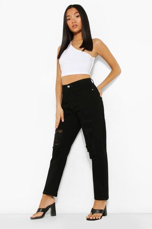 Boohoo Petite High Rise Extreme Ripped Mom Jeans