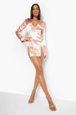 Boohoo Satin Double Split Hem Button Up Mini Dress