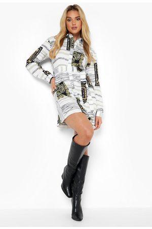 Boohoo Satin Chain Print Belted Shirt Dress