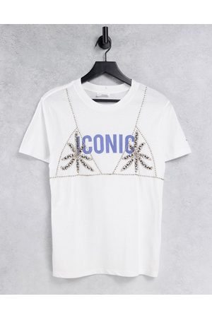 Replay Iconic logo t-shirt with rhinestone embroidery in white
