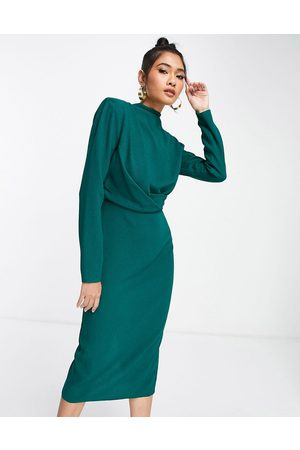ASOS High neck shoulder pad twist front midi dress in forest green
