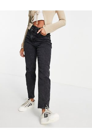 Stradivarius Dame High waist - Slim mom jean with stepped waistband in washed black