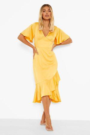 Boohoo Satin Frill Detail Midaxi Dress