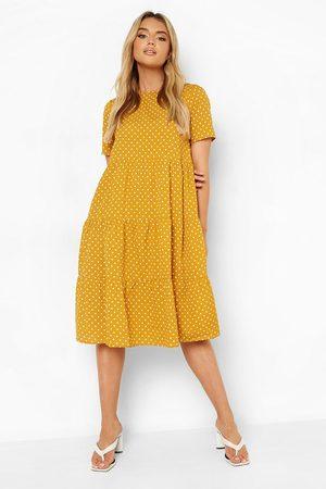 Boohoo Polka Dot Smock Midi Dress
