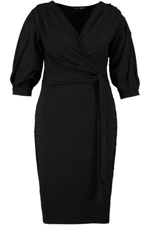 Boohoo Plus Recycled Off Shoulder Wrap Midi Dress