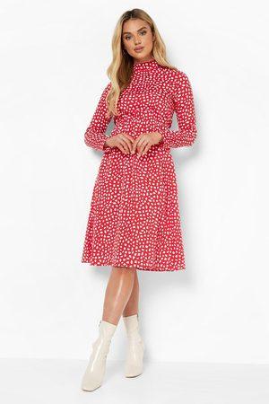 Boohoo Dame Hverdagskjoler - Dalmatian Print High Neck Midi Dress