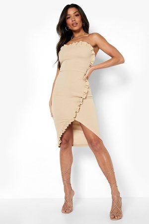 Boohoo Bandeau Ruffle Belted Midi Dress
