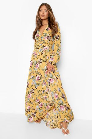 Boohoo Floral Wrap Belted Maxi Dress
