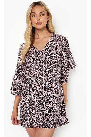 Boohoo Dame Hverdagskjoler - Floral Print Tie Front Shift Dress