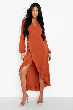 Boohoo Tall Ruffle Maxi Wrap Dress