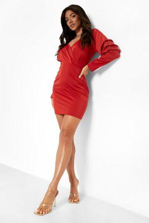 Boohoo Satin Bardot Blouson Sleeve Mini Dress