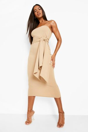 Boohoo Dame Stroppeløse kjoler - Bandeau Tie Waist Midaxi Dress