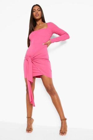 Boohoo Dame Bodycon kjoler - Square Neck Wrap Mini Dress