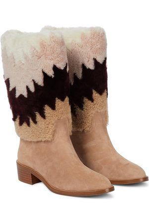 Aquazzura Nomade 45 shearling and suede ankle boots