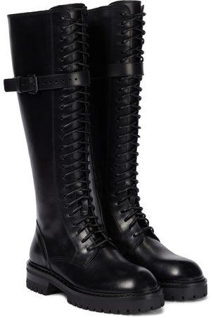 Ann Demeulemeester Tuxon leather knee-high combat boots