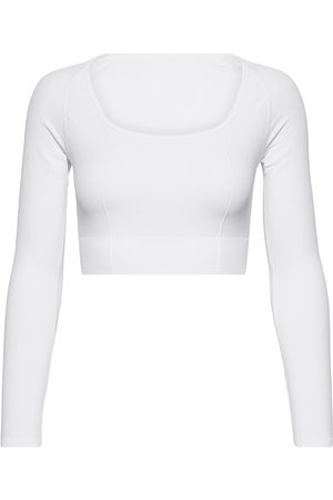 aim'n White Luxe Seamless Cropped Long Sleeve T-shirts & Tops Long-sleeved