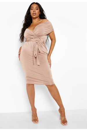 Boohoo Plus Slinky Off Shoulder Belted Midi Dress