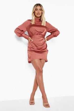 Boohoo Satin High Neck Rouched Mini Dress