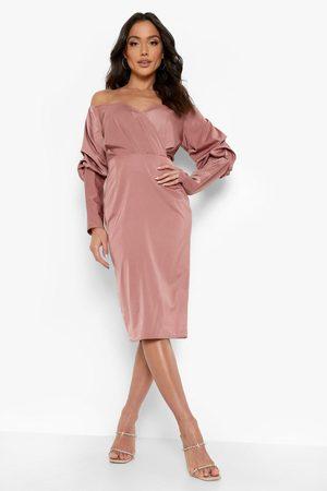 Boohoo Satin Bardot Blouson Sleeve Midi Dress