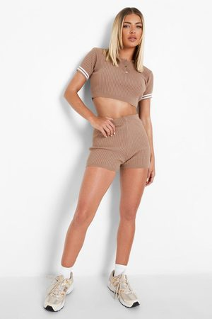Boohoo Polo Top And Shorts Knitted Co-ord