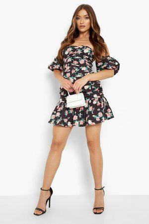Boohoo Floral Rouched Bardot Mini Dress