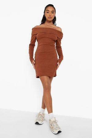 Boohoo Premium Rib Off The Shoulder Dress