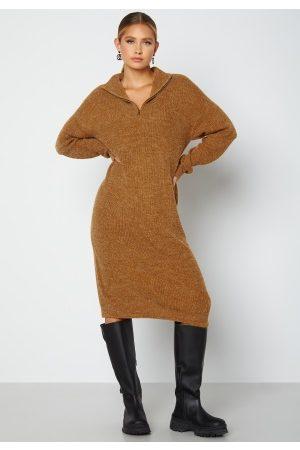 Ichi Dame Strikkede kjoler - Novo Knitted Dress 180940 Golden Brown S