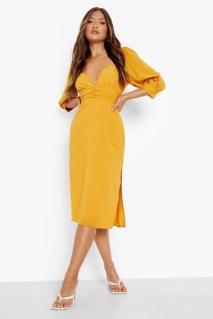 Boohoo Crinkle Sweatheart Ruched Midi Dress