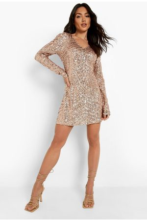 Boohoo Sequin Long Sleeve Skater Bridesmaid Dress