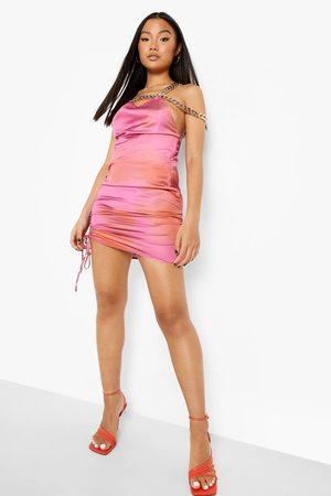Boohoo Petite Chain Detail Print Mini Dress