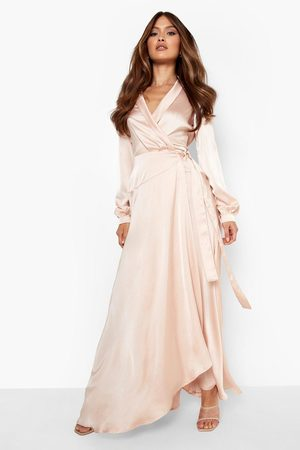 Boohoo Satin Wrap Belted Maxi Dress