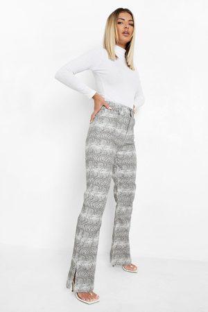 Boohoo Dame Straight - Snake Print Split Hem Straight Leg Jeans