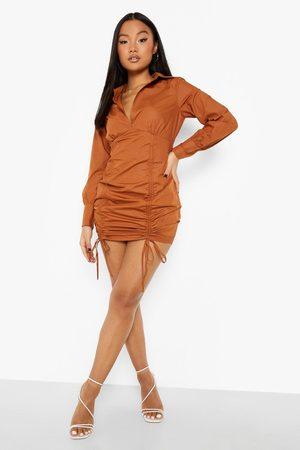 Boohoo Petite Ruched Detail Puff Sleeve Mini Dress