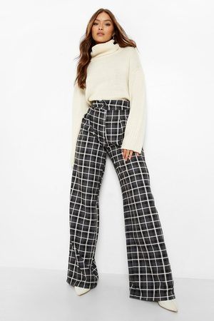 Boohoo Check High Waisted Woven Formal Trousers