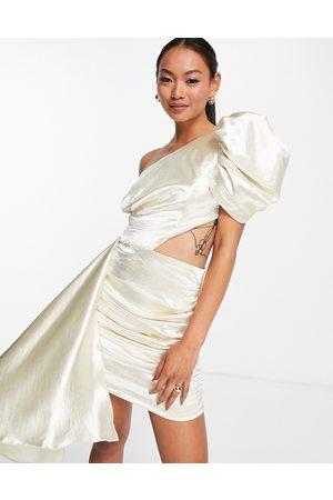 Virgos V L the Label puff sleeve wrap mini dress in ecru white