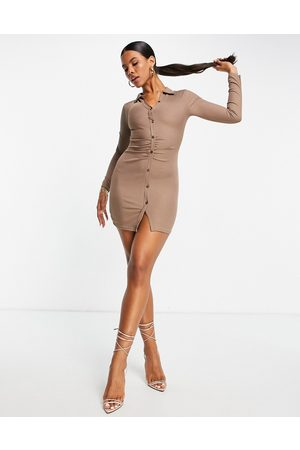 I saw it first Button detail ruched detail shirt dress in brown