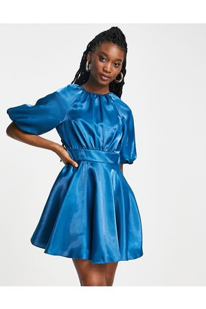 Forever New Bow back satin mini dress in blue-Green