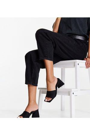 ASOS Wide Fit Halliwell block heeled mules in black