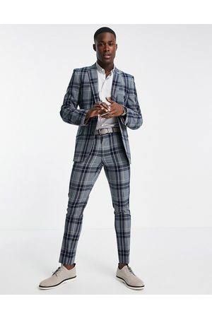 ASOS Super skinny suit trousers with tartan check in grey