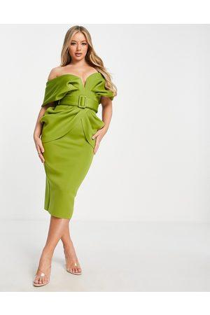 ASOS Draped shoulder belted midi dress in olive-Multi