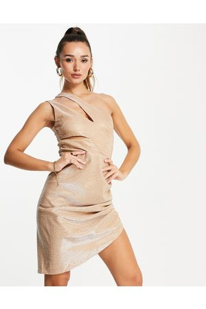 Virgos VL the Label wrap cut out mini dress in gold