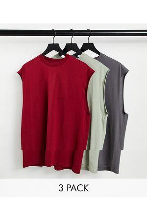 ASOS 3 pack oversized vest-Multi