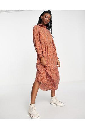 New Look Shirt midi dress in rust spot-Brown